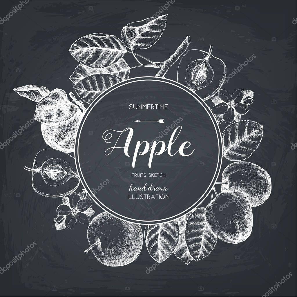 Vintage card design with apple fruits sketch.