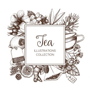 tea card with vintage sketch