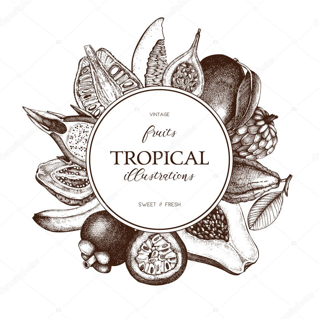 Vector frame with tropical fruits