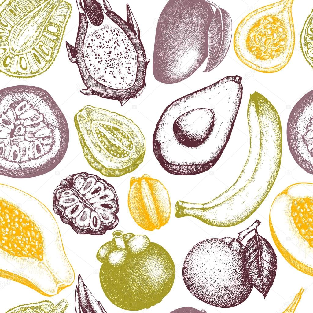 Vector background with tropical fruits