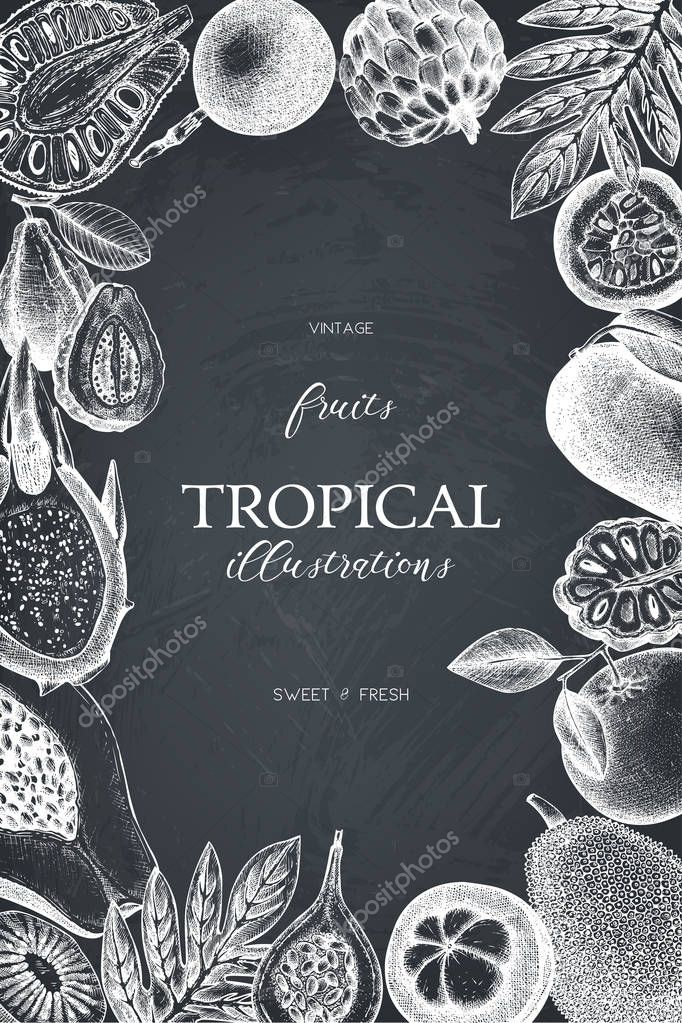 Summer greeting card or invitation design. Vector frame with hand drawn tropical fruits sketch. Vintage background exotic plants and flowers on chalkboard clipart vector