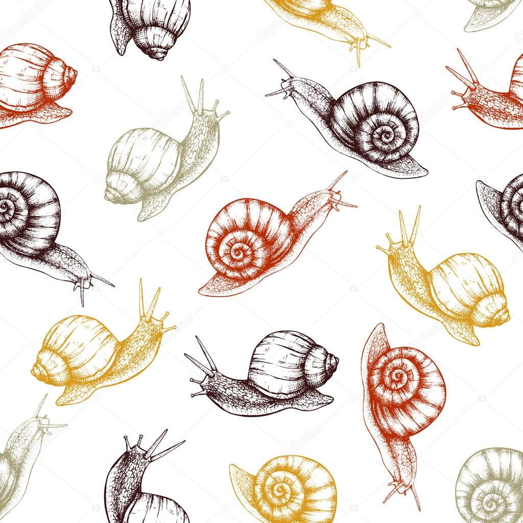 Seamless pattern with hand drawn snails