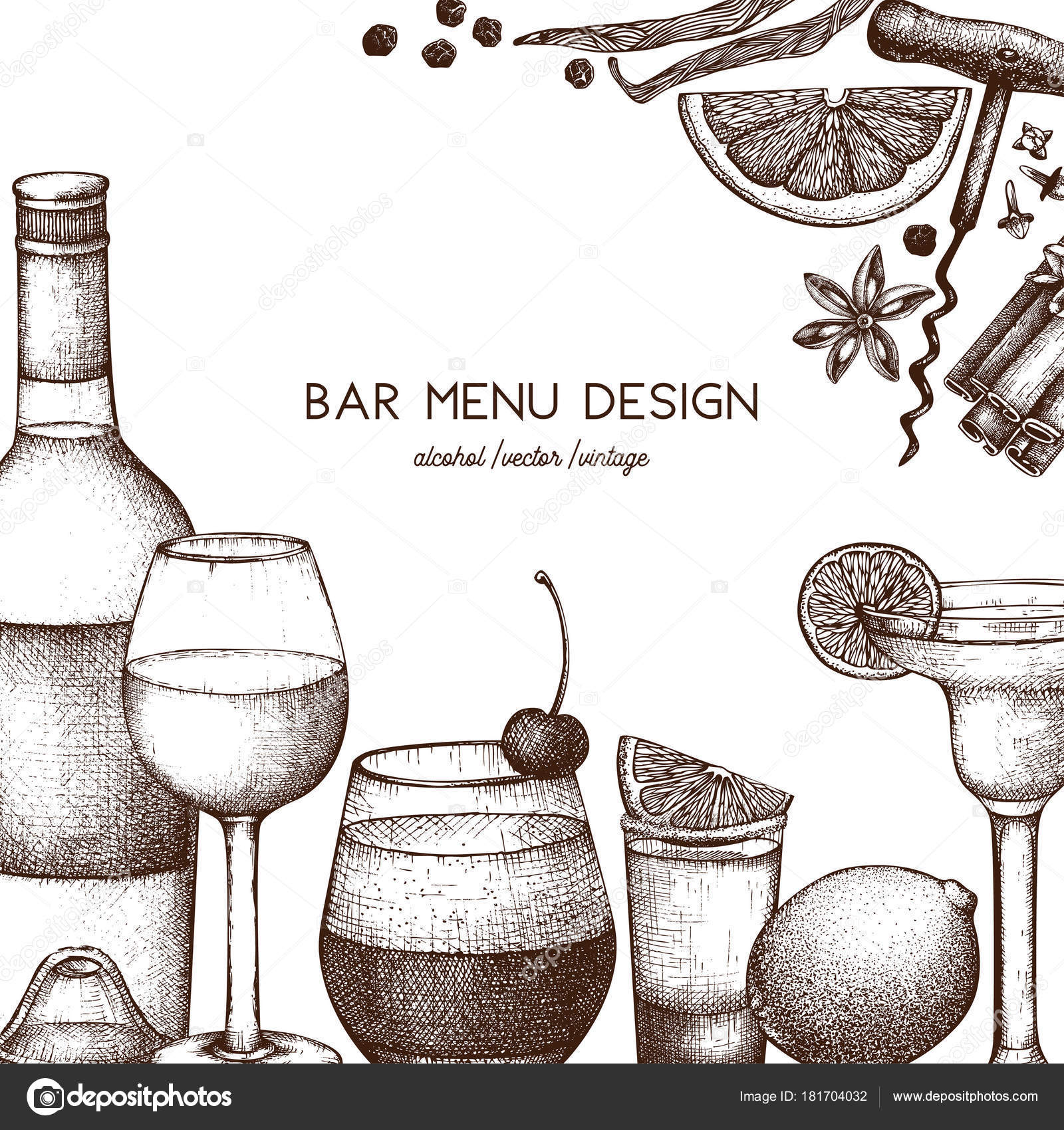 Vector Design Hand Drawn Drinks Illustration Vintage