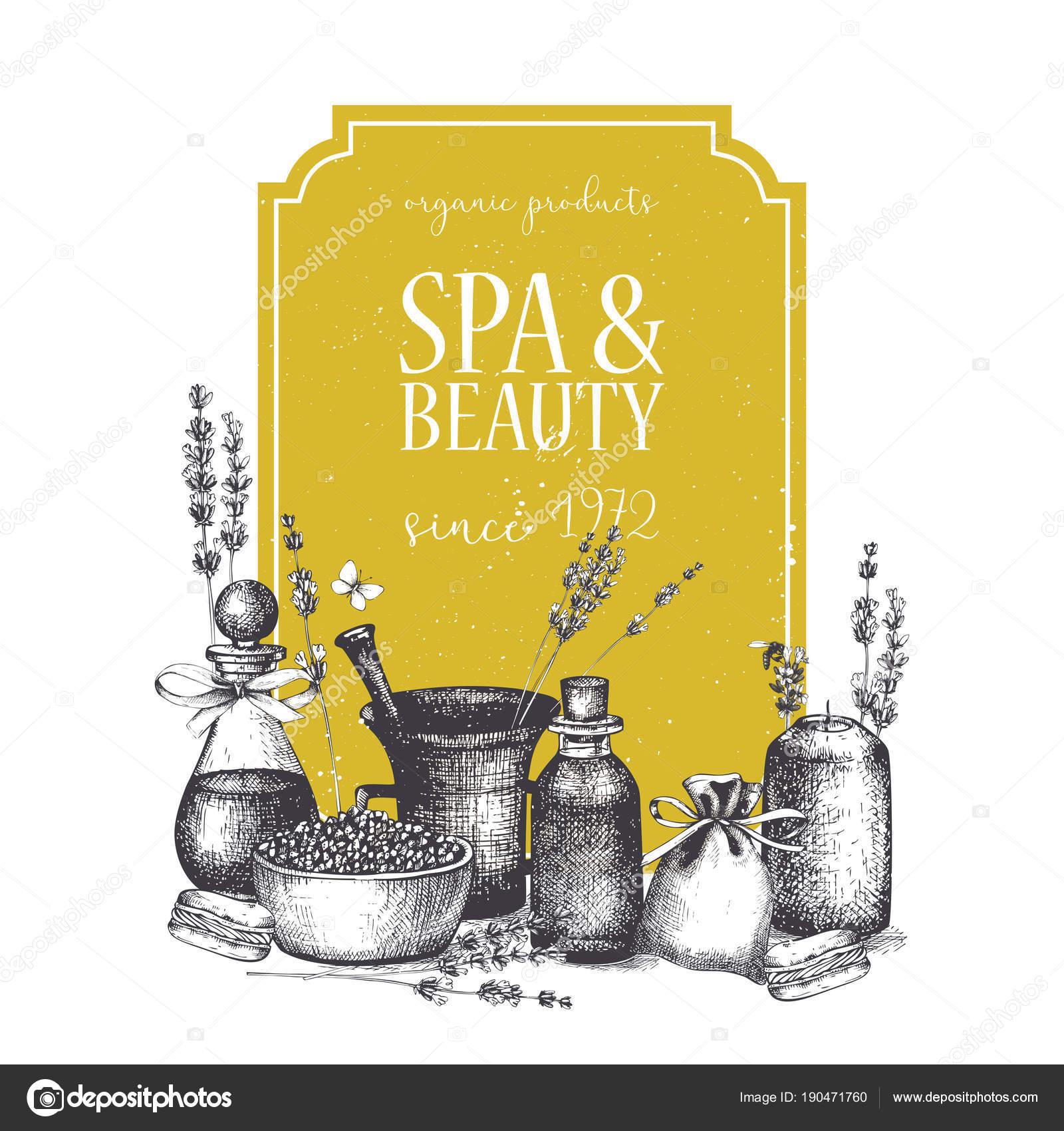 Vintage Gelb Umrahmt Mit Handgezeichneten Spa Und Beauty Produkte ...
