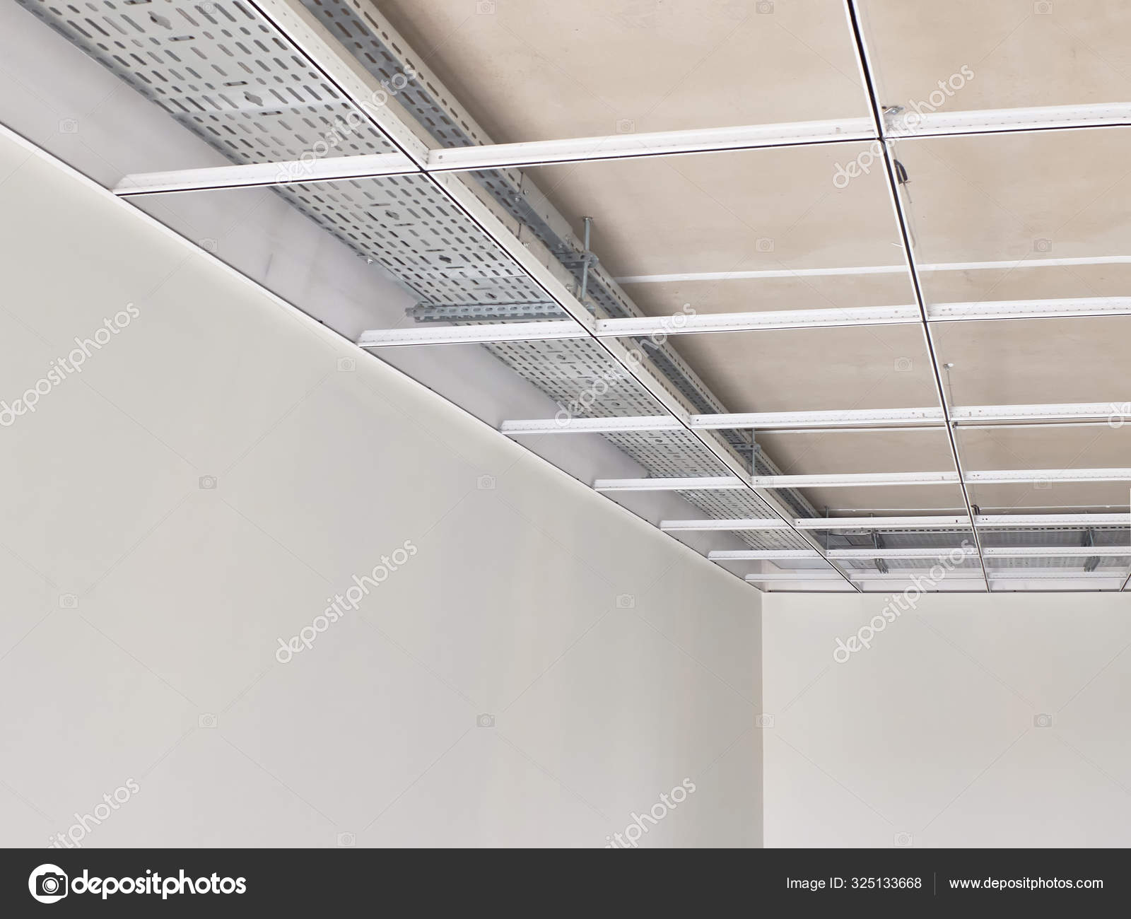 Metal Frame Of Suspended Ceilings Making Of False Ceilings Stock Photo Image By C Philberrry Gmail Com 325133668