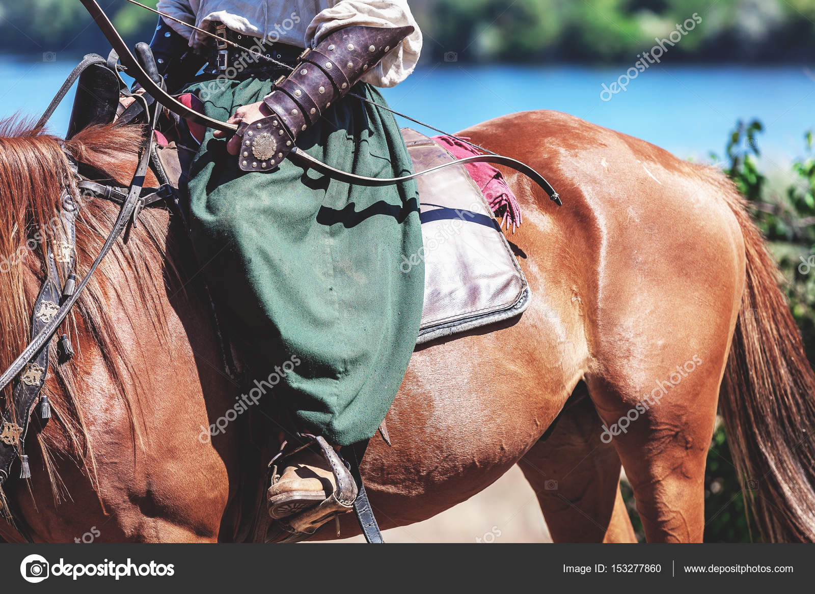 Ancient Archer Sits On A Red Horse Stock Photo C Glebchik 153277860