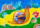 Childrens drawing. Snail crawling on yellow carpet