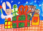 Dětská kresba. Dárky a hračky na stole