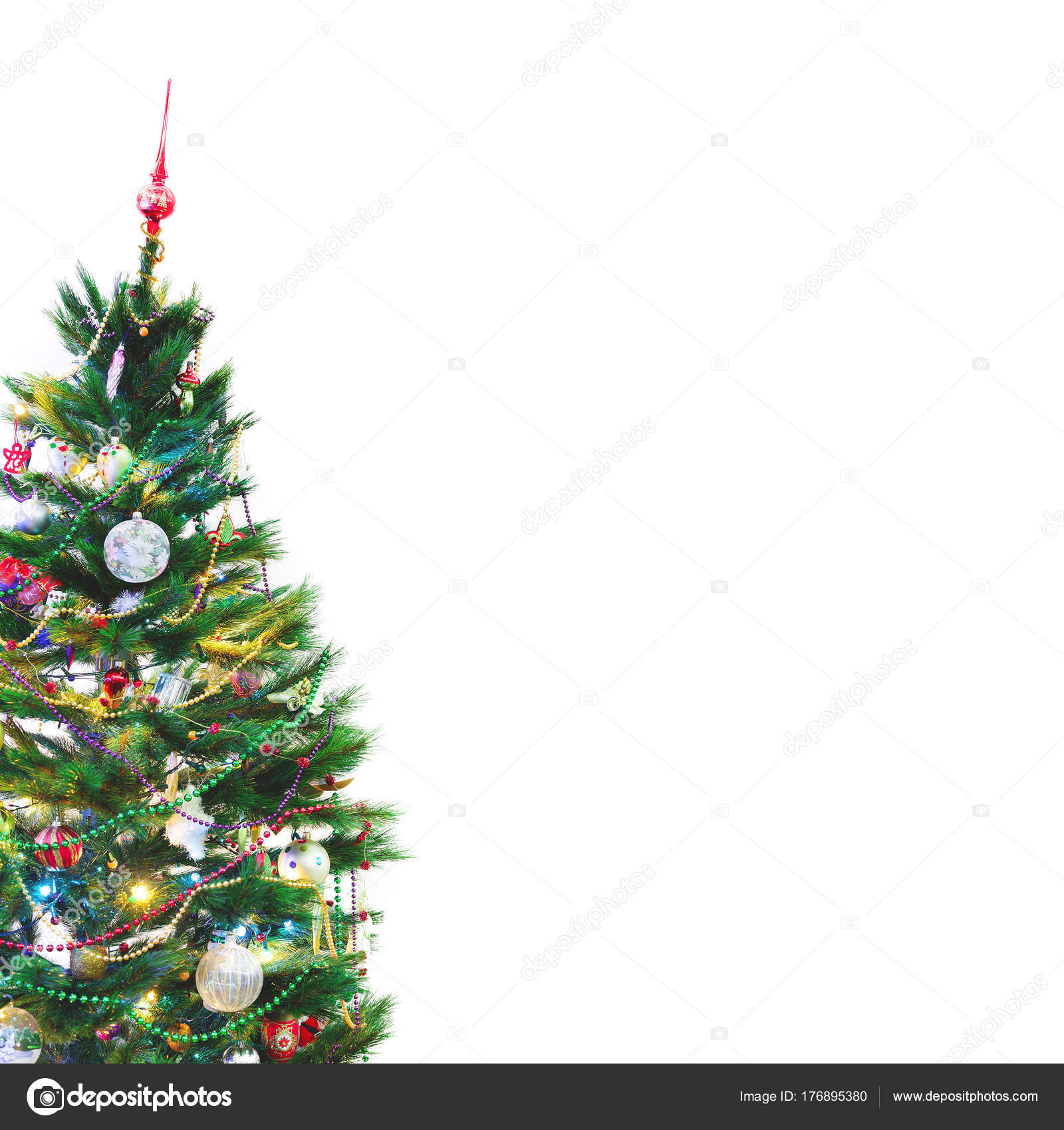 Christmas Tree Stands On White Wall Background Stock Photo Image By C Glebchik 176895380