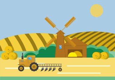 Farm Barn Windmill Tractor
