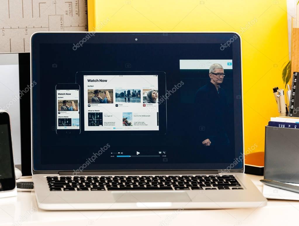 Apple keynote with latest Apple TV app presentation – Stock