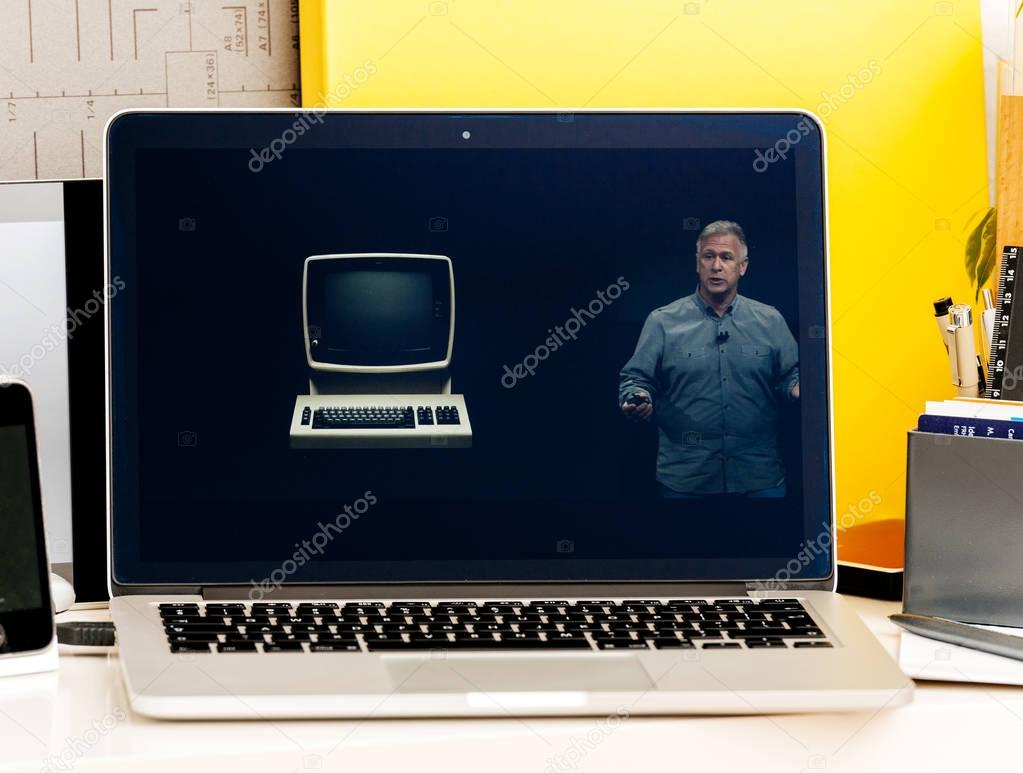 Macbook Pro Touch Bar presentation - old IBM pc – Stock