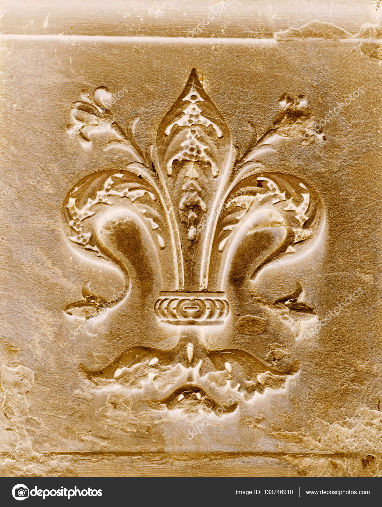 Fleur De Lis Carved In Stone In Florence Italy Stock Photo