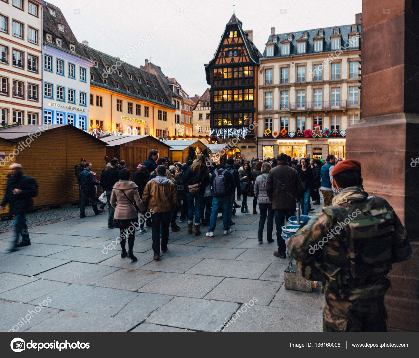 police officers surveilling place cathedrale neon christmas decorations christmas market stock photo - Police Officer Christmas Decorations
