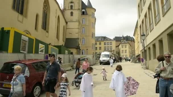 Footage Luxembourg City traffic, in southern part at daytime