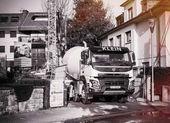 Černá a bílá cement mixer