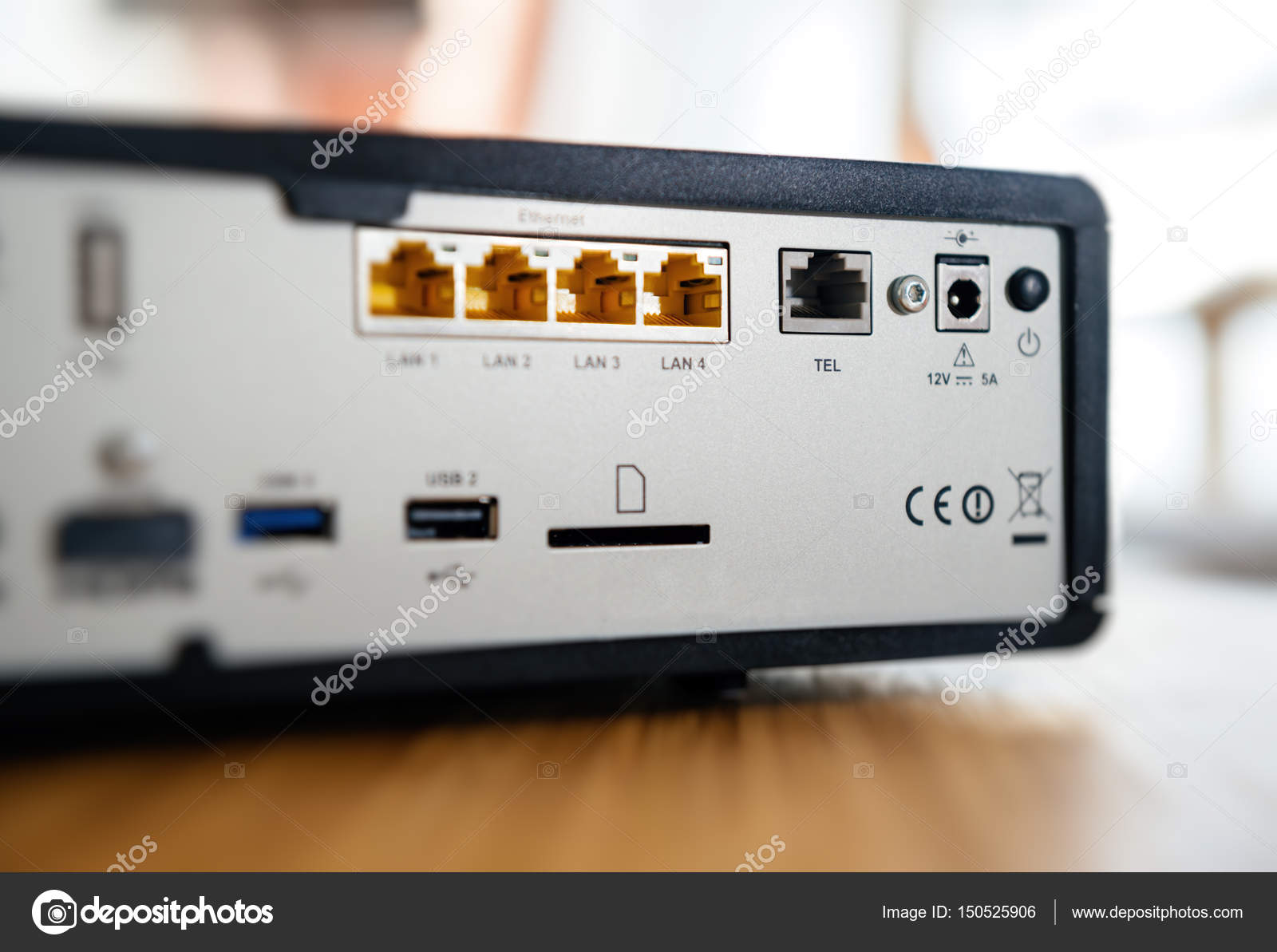 Multiple ports for connection behind tv box — Stock Photo ...