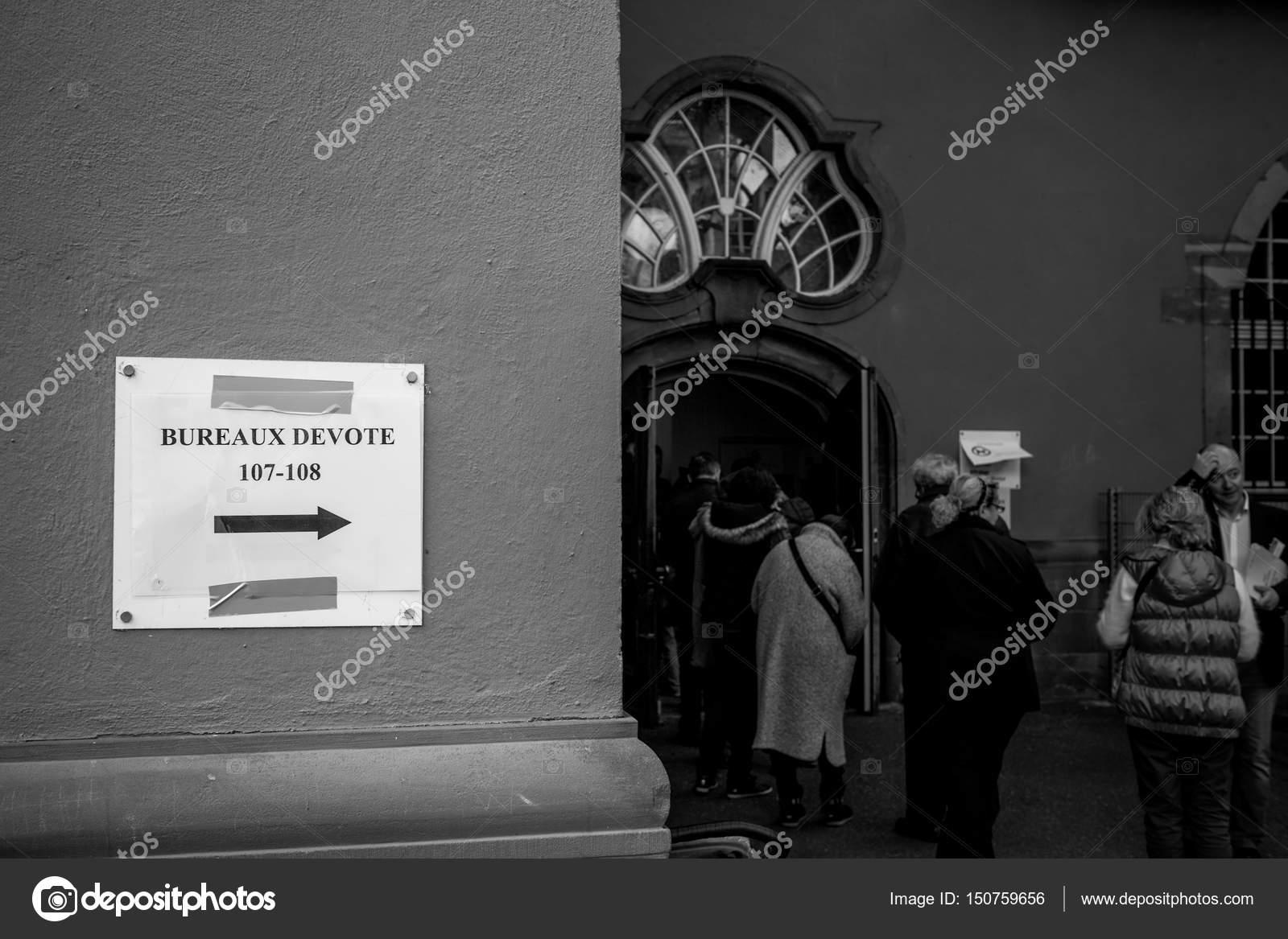 Strasbourg france april bureaux vote voting section sign