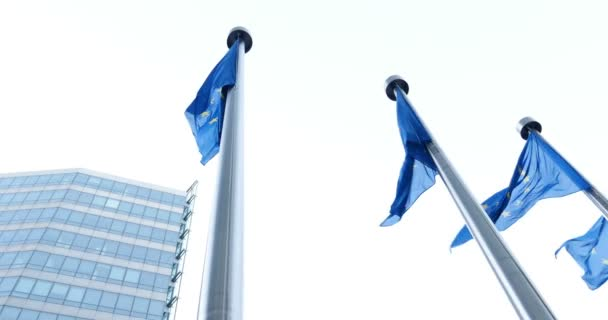 close-up of Europe flags in front of European Parliament building