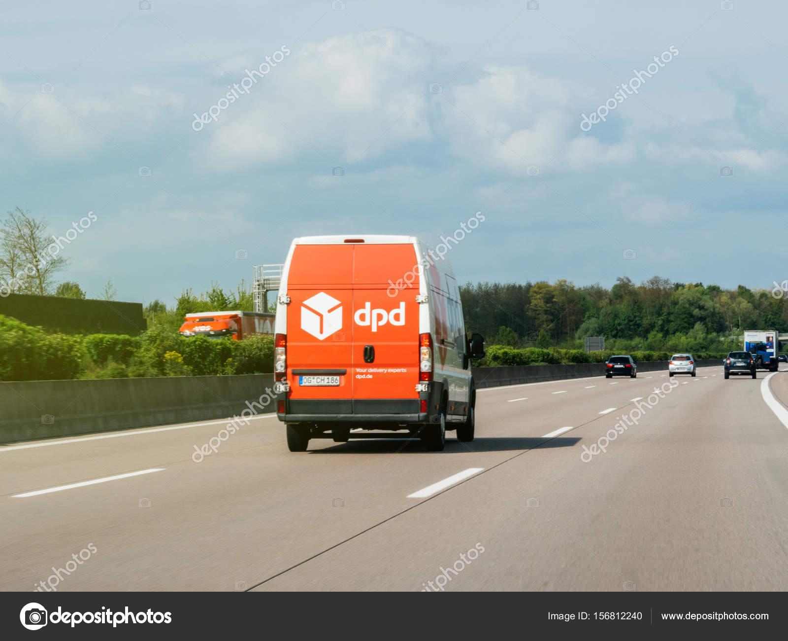 DPD post van driving fast on German highway – Stock Editorial