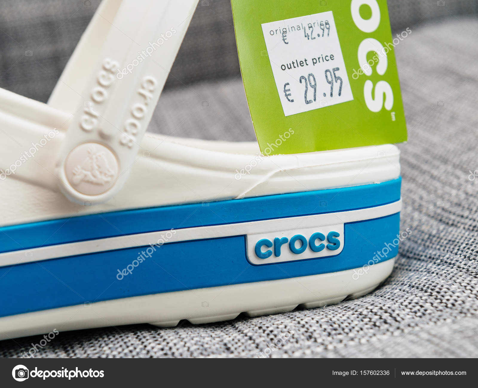 dfeef02956b7ce Crocs clogs shoes with regular and outlet price– Stock Editorial Photography