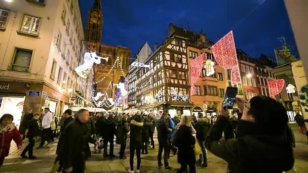 Strasbourg Christmas Market decorations and people