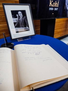 The book of condoleances for Helmut Kohl at European Parliament
