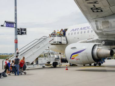 Airstair police customs control of Air Moldova aircraft at Frank