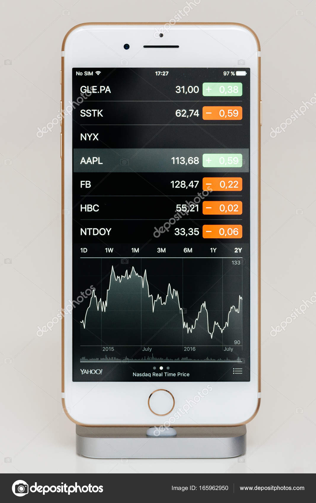Apple stock price on iphone 7 plus the application software.