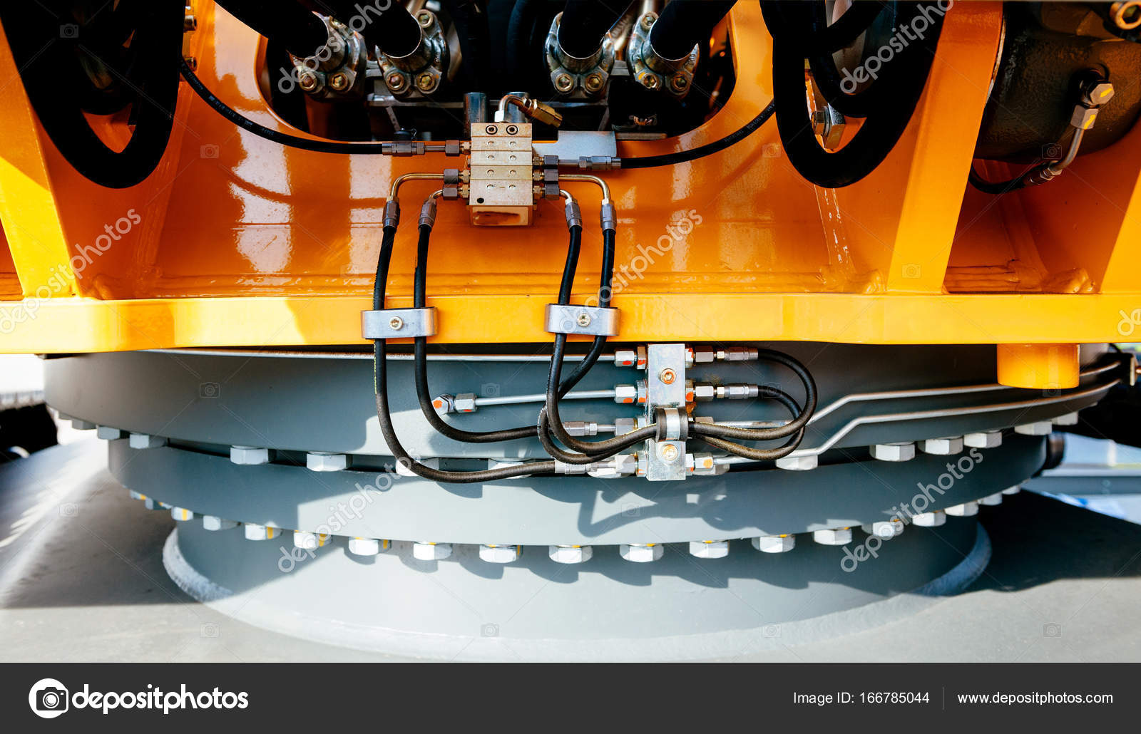 Detail of excavator of swing drive and slewing ring — Stock Photo