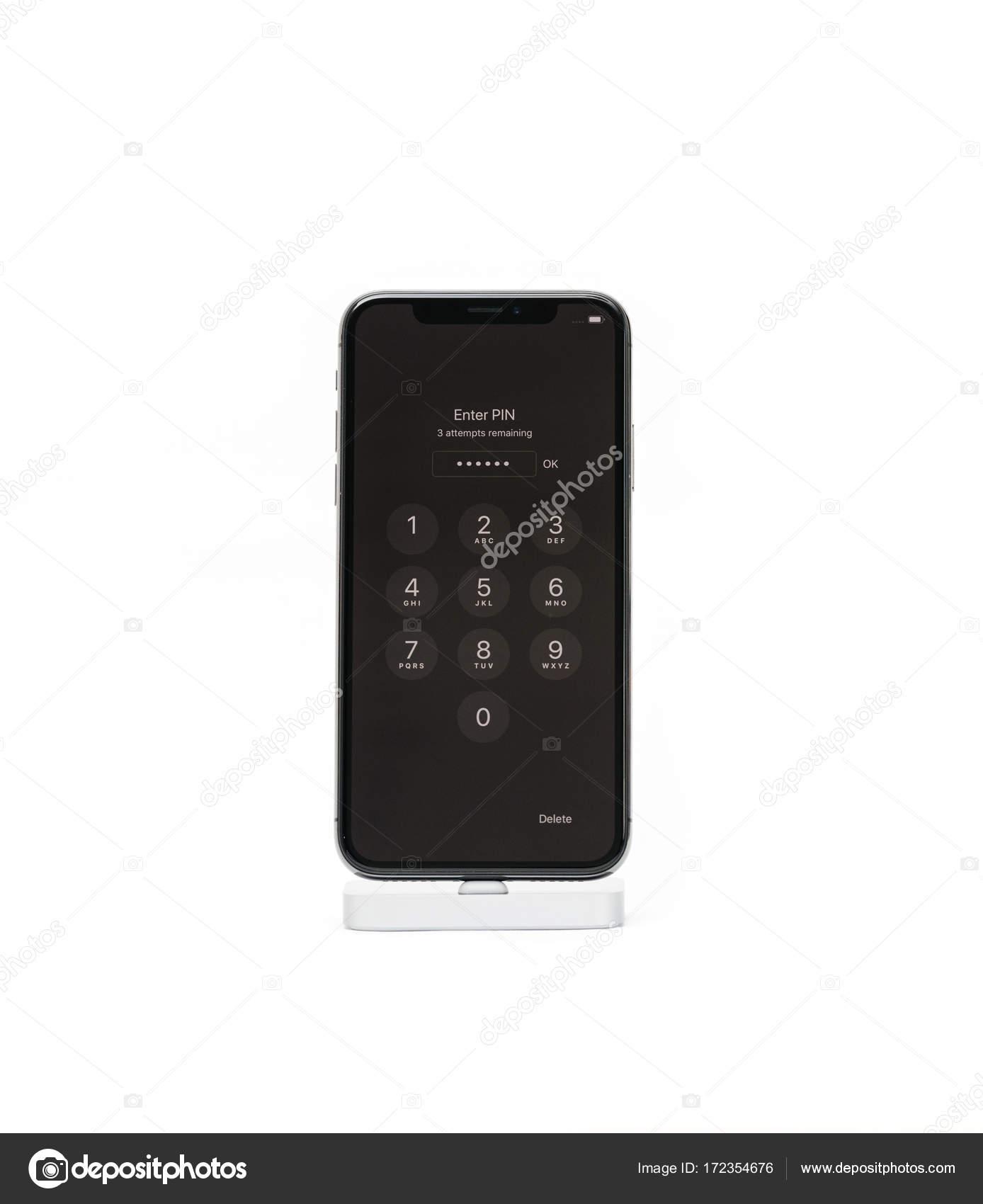 Apple Iphone X Smartphone Isole Fond Blanc Avec Cod Pin Photo