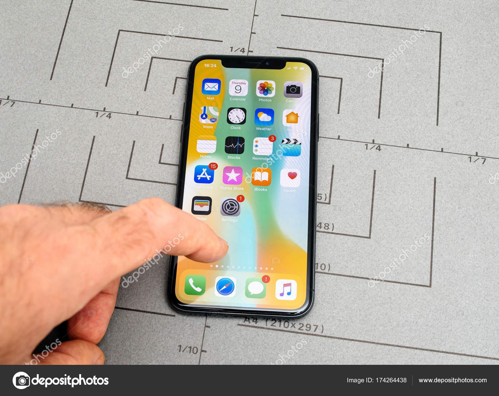 Configurar No Iphone X 10 App Aplicativo Software Mão Tela
