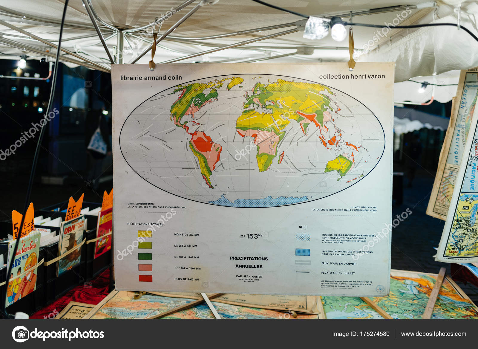 Vintage world map with annual precipitations at a flea market st vintage world map with annual precipitations at a flea market st stock photo gumiabroncs