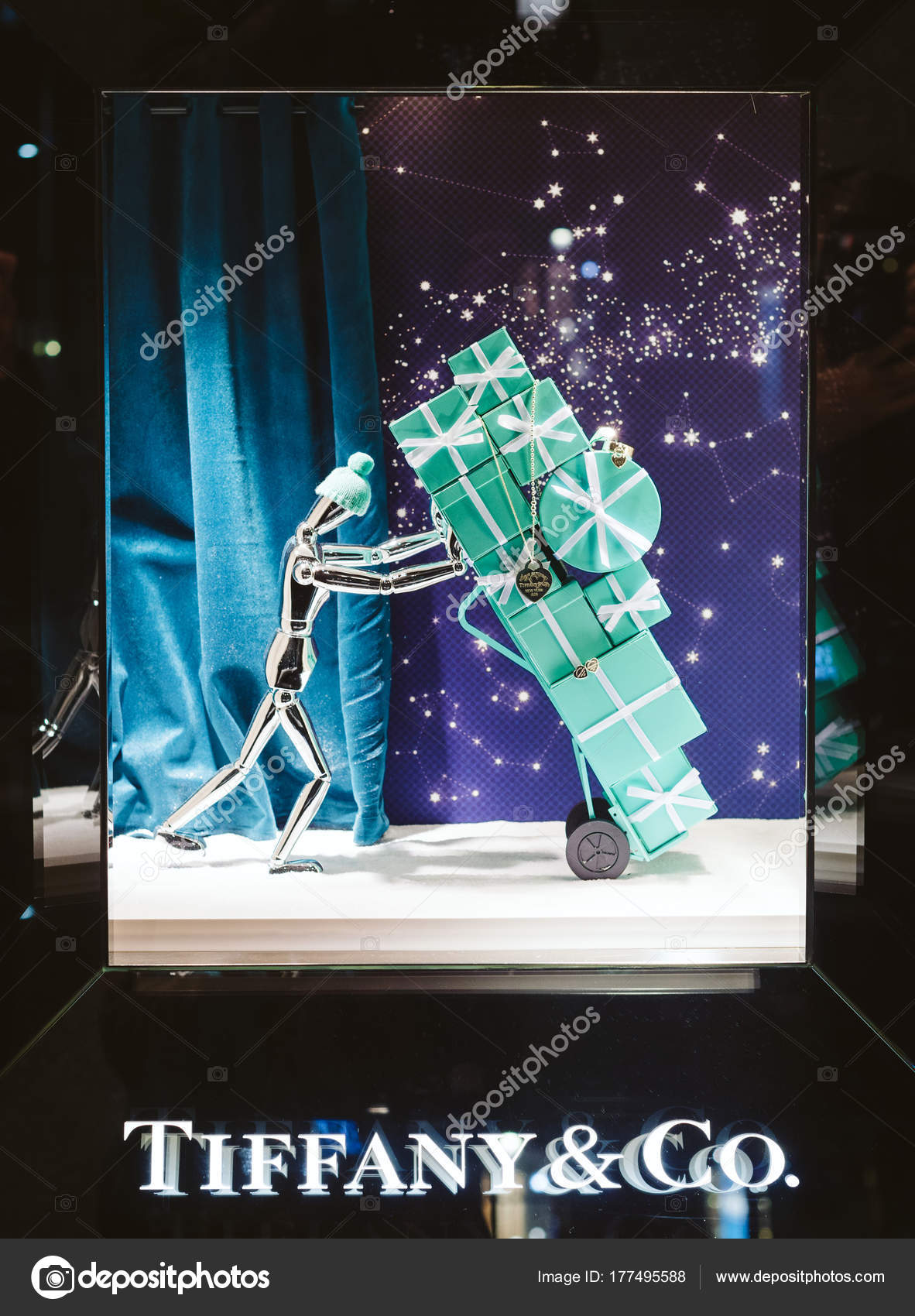 5ce406fe562a7 ... SPAIN - NOV 17, 2017: Tiffany & Co. luxury shopping store window facade  with decorations ready for the Christmas holidays with toys as gifts rings,  ...