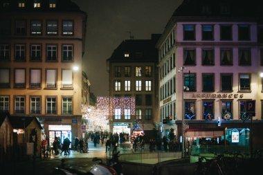 Christmas night market city pedestrians place Gutenberg