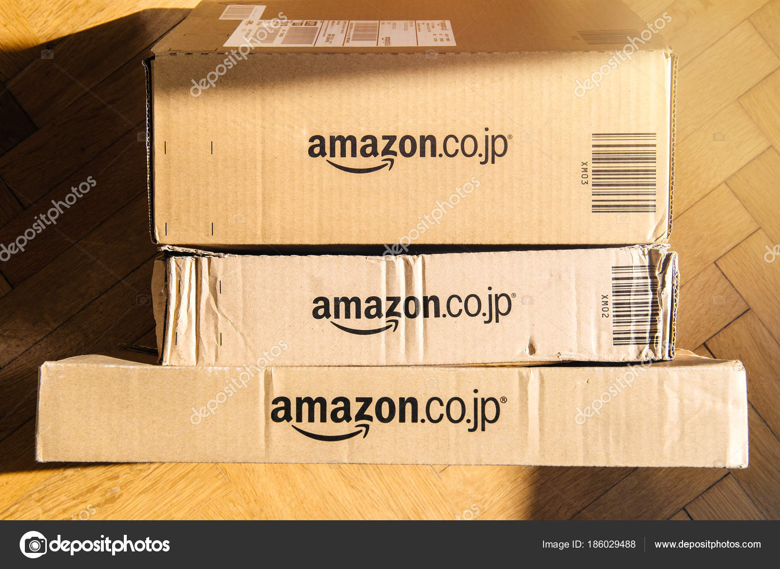 Amazon prime cardboard box seen from above floor home stock amazon prime cardboard box seen from above floor home stock photo reheart Gallery