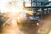 Krásná Škoda Octavia v autě vůz modré barvy při západu slunce německé