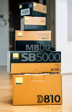 Stack of multiple Nikon Photographic equipment camera - D810 DSL