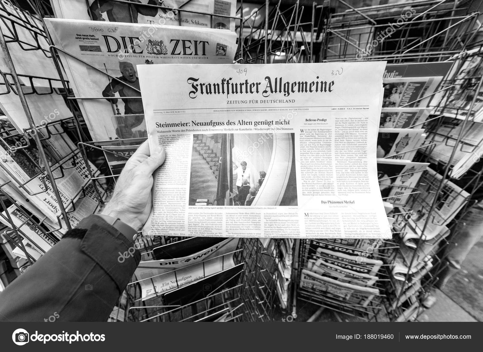 frankfurter allgemeine zeitung Newspaper at press kiosk featurin ...