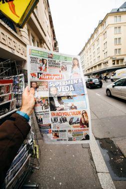 Turkish Hurriyet newspaper with portrait of Stephen Hawking the