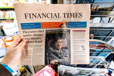 financial times, Newspaper about Stephen Hawking Death on the fi