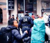 Policejní dohled protestu ve Francii na ulici