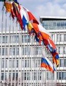 Všechny vlajky Eu s Ruskem vlajky létání špatném