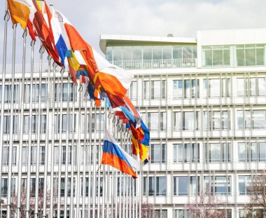 All Eu Flags with Flag of Russia flying half-mast