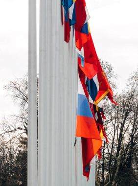 Flag of Russia flying half-mast at Council of Europe building