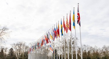 Flag of Russia flying half-mast at Council of Europe in Strasbou
