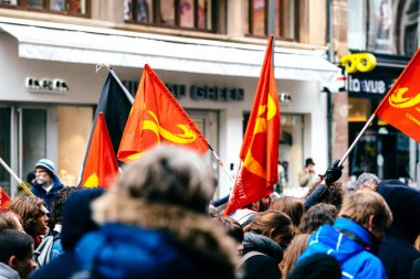 Communist Flags as Protest Macron French government string of re