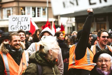 SNCF workers at French protest