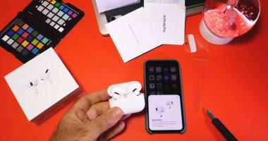 new Apple Computers AirPods Pro headphones unboxing