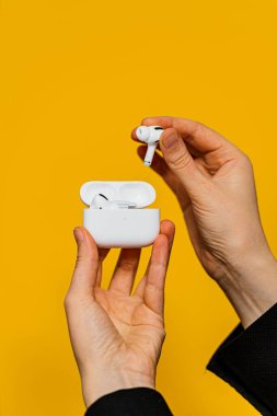Woman new Apple Computers AirPods Pro headphones